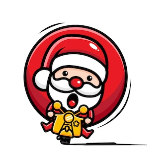 Санта-клаус векторный дизайн на мотоцикле