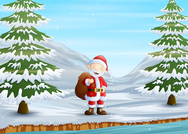 Santa claus walking with bag on snowy road