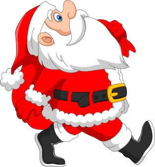 Santa claus walks with a sack of gifts
