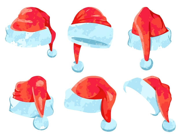 Santa claus watercolor hat  cartoon christmas icons set isolated on a white background.