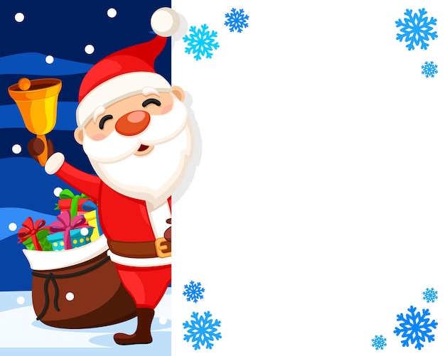Santa claus waves a bell from behind a white shield, a place for text. christmas banner