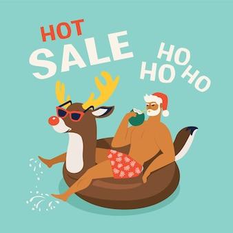 Santa claus wearing a deer swim ring.