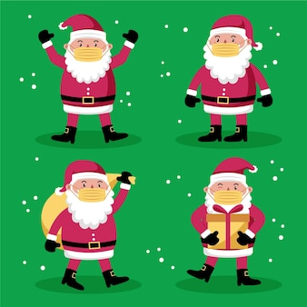 Santa claus wearing face mask collection