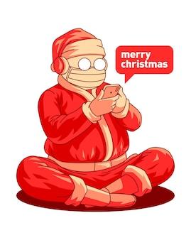 Санта-клаус в маске держит смартфон