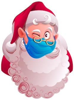 Санта-клаус в защитной медицинской маске