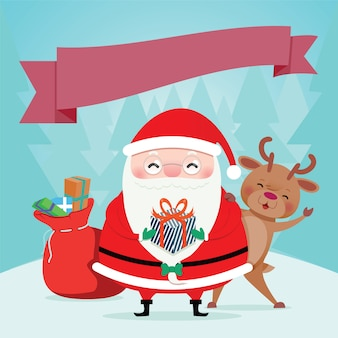 Santa claus wears a red dress gift bags and rendear for christmas. vector illustration.