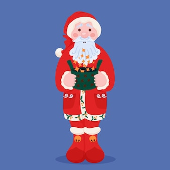 Santa claus on white background with magic box. vector illustration for christmas or new year card.