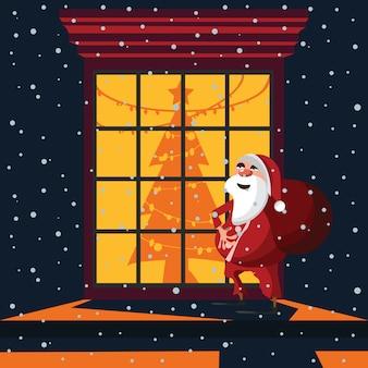 Santa claus at windows vector illustration