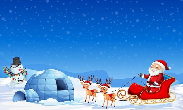 Santa claus in winter background