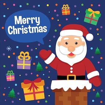 Santa claus wishing merry christmas