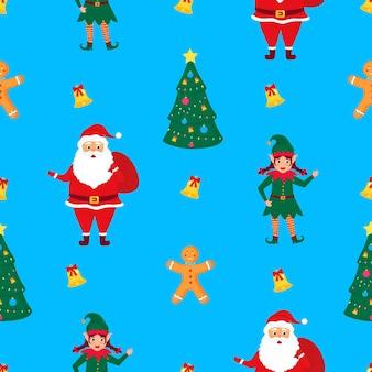 Дед мороз с мешком подарков, эльфийка и пряничный человечек. рождество и новый год бесшовные модели.