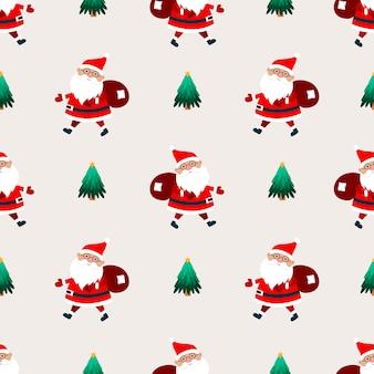 ベージュの背景にギフトの袋を持つサンタクロース。クリスマスのシームレスなパターン。