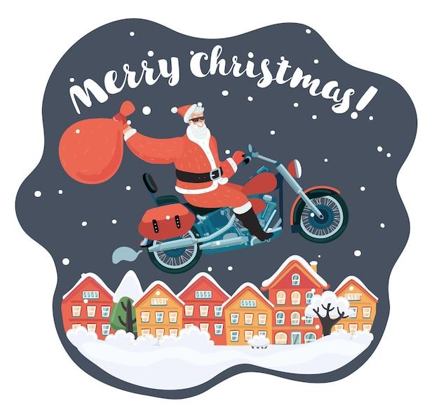 오토바이를 타고 선물을 들고 산타 클로스