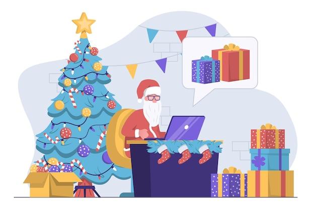 Дед мороз с ноутбуком читает письма рядом с елкой и подарками