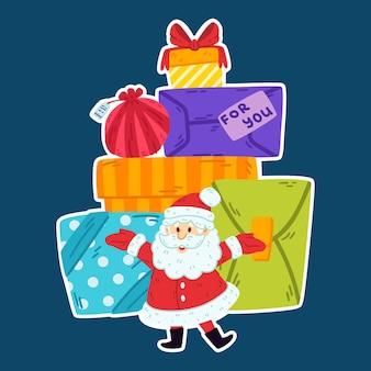 Дед мороз с горой подарков.