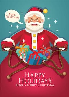 Санта-клаус с мешком, полным открывания мешка подарков