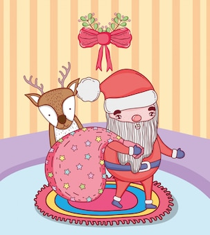 Santa claus with bag and deer in the house