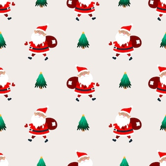 Santa claus with a bag of gifts on a beige background. christmas seamless pattern.