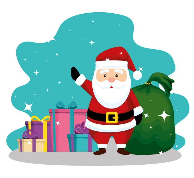 Santa claus with bag and gifts to christmas