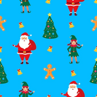 Santa claus with a bag of gifts, elf and gingerbread man. christmas and new year's seamless pattern.
