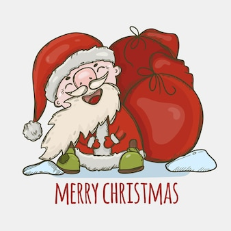 Santa claus with a bag of gifts laughing cute new year merry christmas cartoon holiday hand drawn illustration