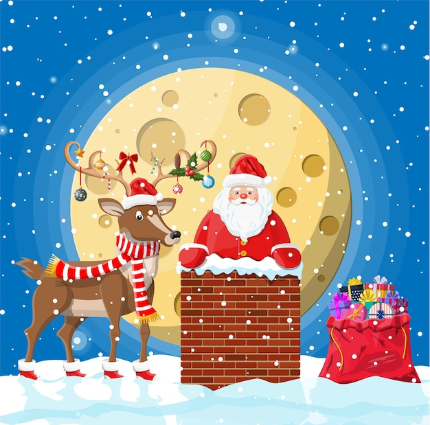 Santa claus with bag with gifts in house chimney, gift boxes in snow, reindeer. happy new year decoration. merry christmas eve holiday. new year and xmas celebration.