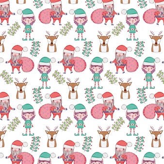 Santa claus with bags and helpers pattern