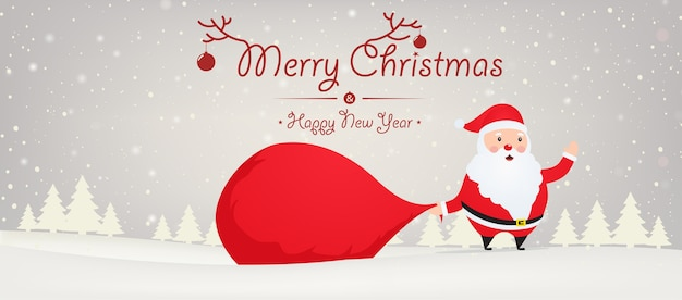 Santa claus with big bag  gift on snowy background with christmas trees. christmas and new year background.