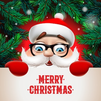 Santa claus with big signboard. merry christmas lettering design. creative typography for holiday greeting