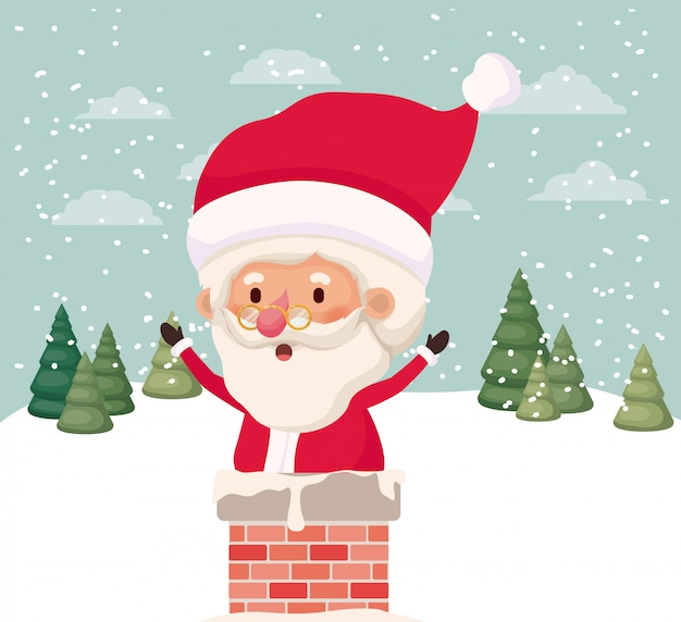 Santa claus with chimney in snowscape