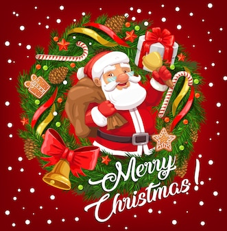 Santa claus with christmas gift bag and xmas bell in frame of winter holiday festive wreath greeting card.