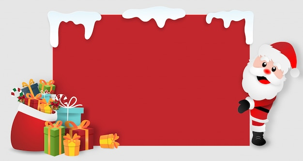 Santa claus with christmas gifts, copy space blank background
