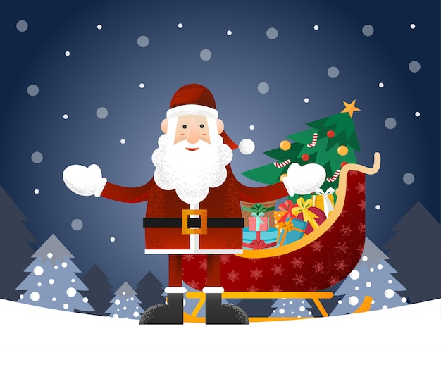 Santa claus with christmas sleigh