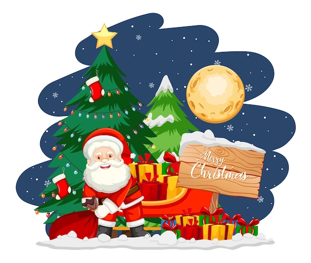 夜のクリスマスツリーと雪だるまとサンタクロース