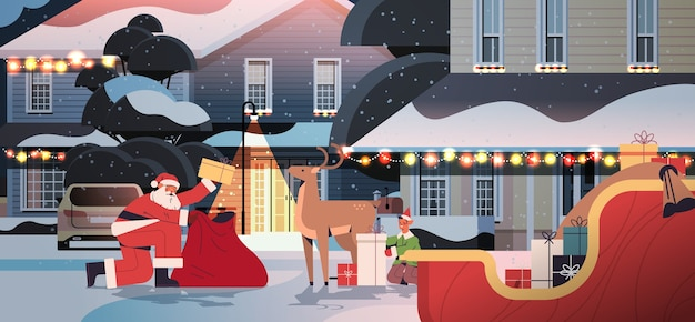 Santa claus with deer and elf preparing gifts happy new year merry christmas holidays celebration concept night street with decorated houses full length horizontal vector illustration