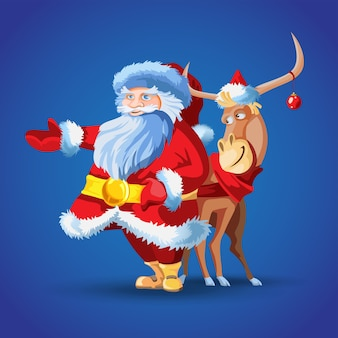 鹿とサンタクロース。メリークリスマスの漫画のキャラクター。