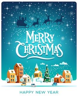 마을 위의 하늘에서 deers와 산타 클로스. 겨울 도시 메리 크리스마스와 새 해 복 많이 인사말 카드.