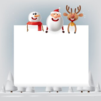 Santa claus with deers and snowman