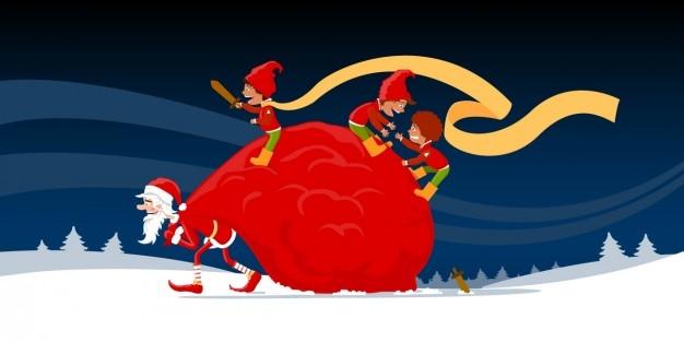 Санта-клаус с эльфами в зимний пейзаж