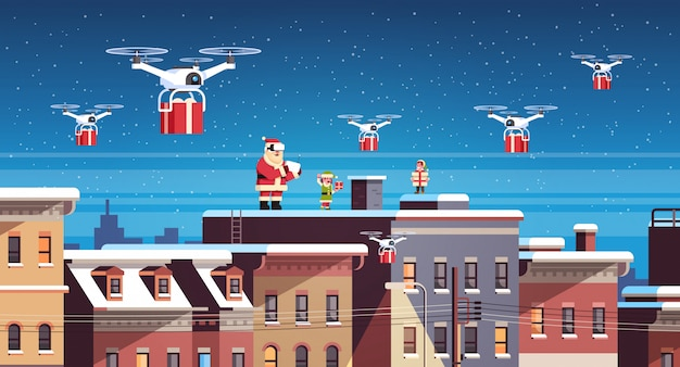Santa claus with elves on roof hold controller drone delivery present service