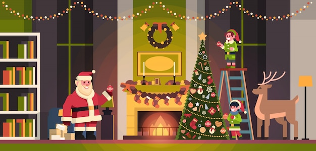Santa claus with elves on staircase decorate fir tree living room interior merry christmas happy new year concept flat horizontal