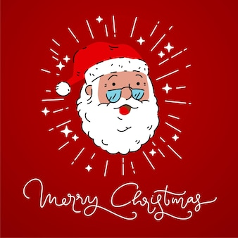 Santa claus with flash light shine sign vector merry christmas calligraphy typography desi