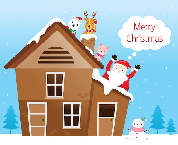 Santa claus with friend, reindeer, bear and cat happy on roof of house