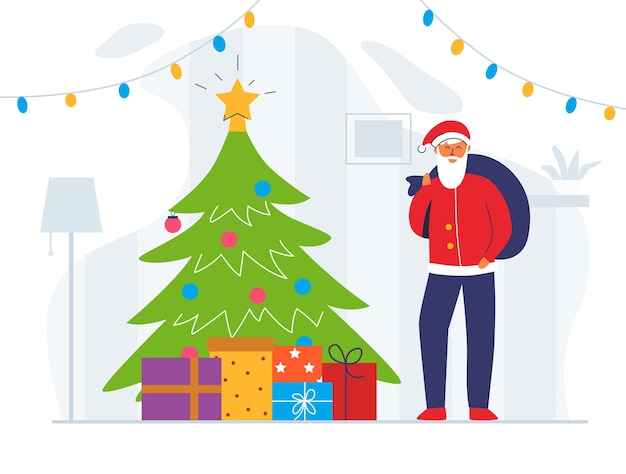 Санта-клаус с подарочной сумкой и рождественской елкой. милый плоский характер зимних праздников. открытка с новым годом с дедом морозом и подарками.