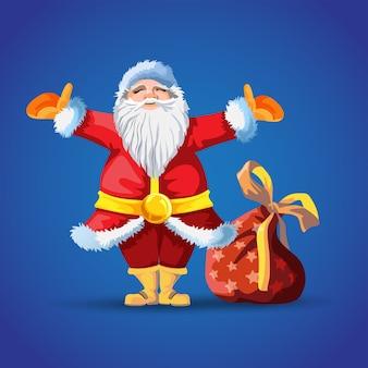 ギフトバッグ付きサンタクロース。メリークリスマスの漫画のキャラクター。