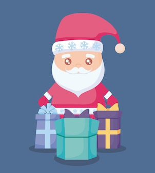 Santa claus with gift boxes presents
