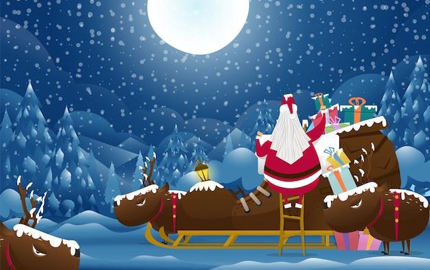 Санта-клаус с подарком на рождество