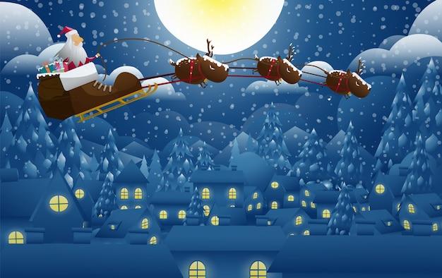 Санта-клаус с подарком на рождество Premium векторы