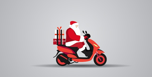 Santa claus with gift present boxes riding delivery scooter merry christmas  winter holidays celebration concept full length horizontal vector illustration