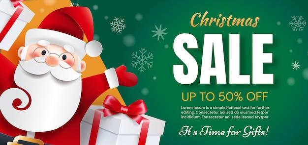 Дед мороз с подарками объявляет о праздничных скидках. время рождественских распродаж для подарков.